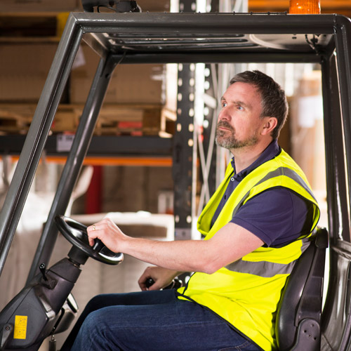 Man on forklift
